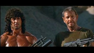 Sylvester Stallone is John Rambo and Richard Crenna is Col. Trautman in Rambo 3