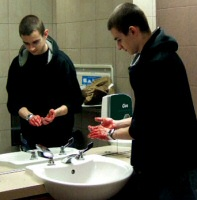 Clue blood soap dispenser