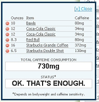 Energy Fiend caffeine calculator