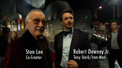 Stan Lee and Robert Downey Jr. from the Iron Man DVD