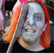 Axe in the face!  Yes!