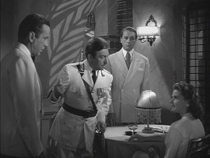 Humphrey Bogart, Claude Rains, Paul Henreid, and Ingrid Bergman from Casablanca