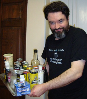 Widge with a sampling of his caffeine collection