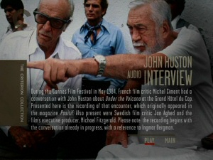 John Huston interview DVD screen from Under the Volcano