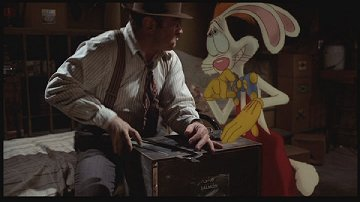Bob Hoskins as Eddie Valiant with Roger Rabbit