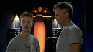 Michael Welch and Richard Dean Anderson as Col. O'Neill from Stargate SG-1: Season 7