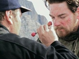 Kenneth Branagh gets makeup for Shackleton