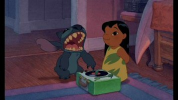 Lilo and Stitch play with a record player