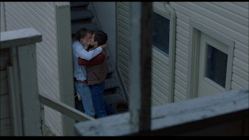 Heath Ledger and Jake Gyllenhaal kiss in Brokeback Mountain