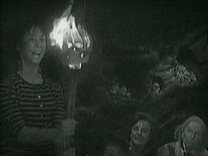 Flaming skull puppet show! from Doctor Who: An Unearthly Child