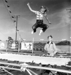 Young Girl Jumping on a Trampoline