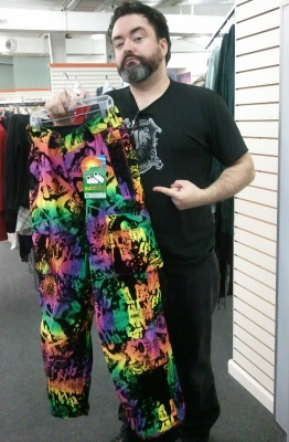 Crazed rainbow velour pants