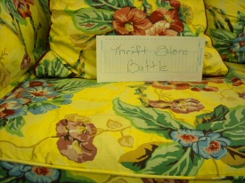 Thrift Store Battle Yellow Couch from Heather C.