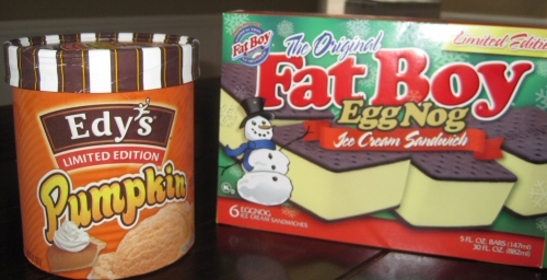 Edy's Pumpkin Ice Cream and Fat Boy Egg Nog Ice Cream Sandwiches