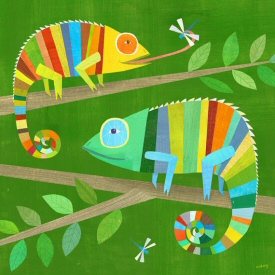 Striped Chameleons Print