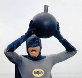 Adam West and bomb from Batman