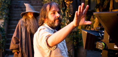 Peter Jackson on the set of The Hobbit: An Unexpected Journey