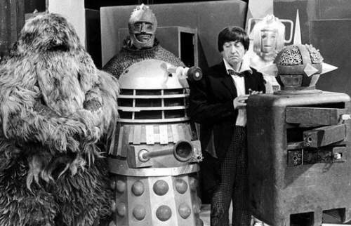 Patrick Troughton as The Doctor with friends