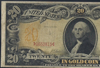 Half an old twenty dollar bill