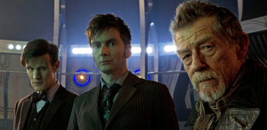 Matt Smith, David Tennant and John Hurt, all as The Doctor